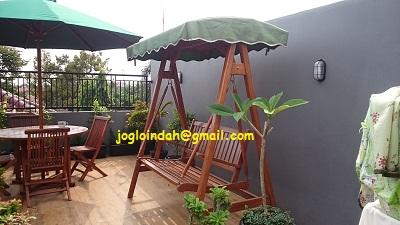 Ayunan Kayu Jati untuk teras atas rumah di Gandul,Cinere Depok